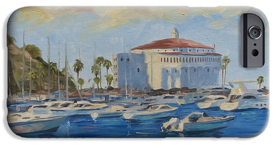 California IPhone 6 Case featuring the painting Catallina Casino by Jay Johnson