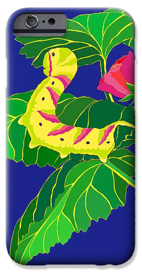 Nature IPhone 6 Case featuring the drawing Caterpillar by Lucyna A M Green
