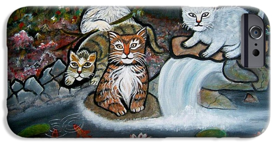 Acrylic Art Landscape Cats Animals Figurative Waterfall Fish Trees IPhone 6 Case featuring the painting Cats In The Wild by Manjiri Kanvinde
