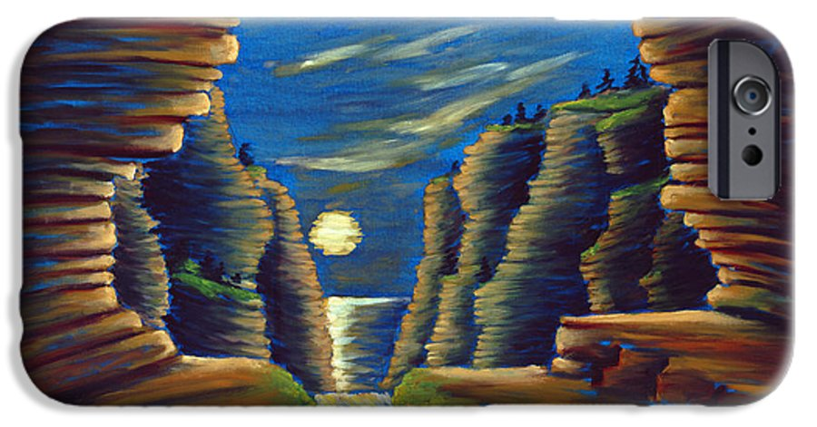 Cave IPhone 6 Case featuring the painting Cave With Cliffs by Jennifer McDuffie