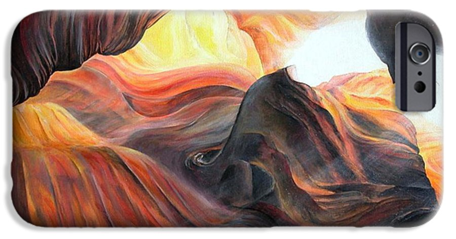 Landscape IPhone 6 Case featuring the painting Caverne by Muriel Dolemieux