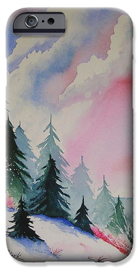 Snow IPhone 6 Case featuring the painting Cedar Fork Snow by Karen Stark