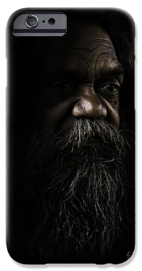 Fullblood Aborigine IPhone 6 Case featuring the photograph Cedric In Shadows by Sheila Smart Fine Art Photography