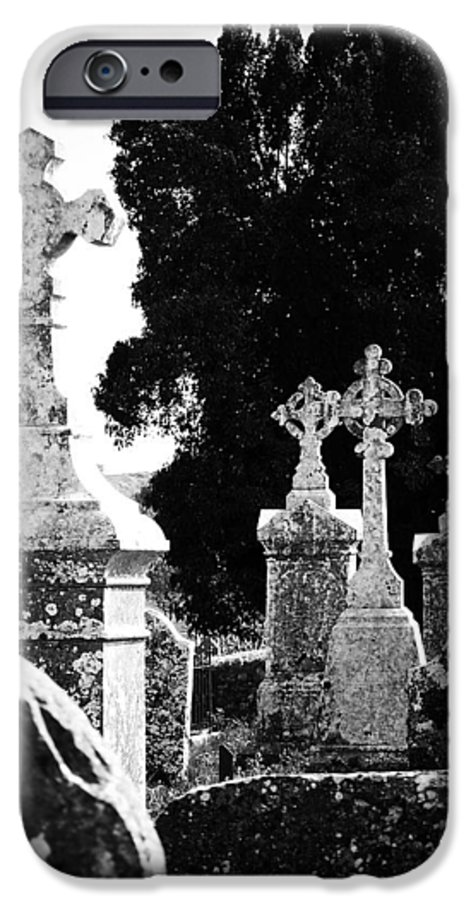 Celtic IPhone 6 Case featuring the photograph Celtic Crosses At Fuerty Cemetery Roscommon Ireland by Teresa Mucha