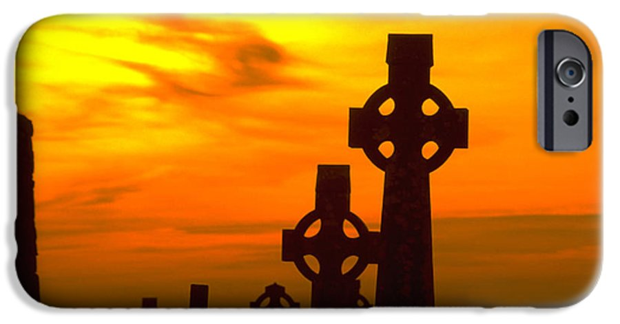 Christian IPhone 6 Case featuring the photograph Celtic Crosses In Graveyard by Carl Purcell
