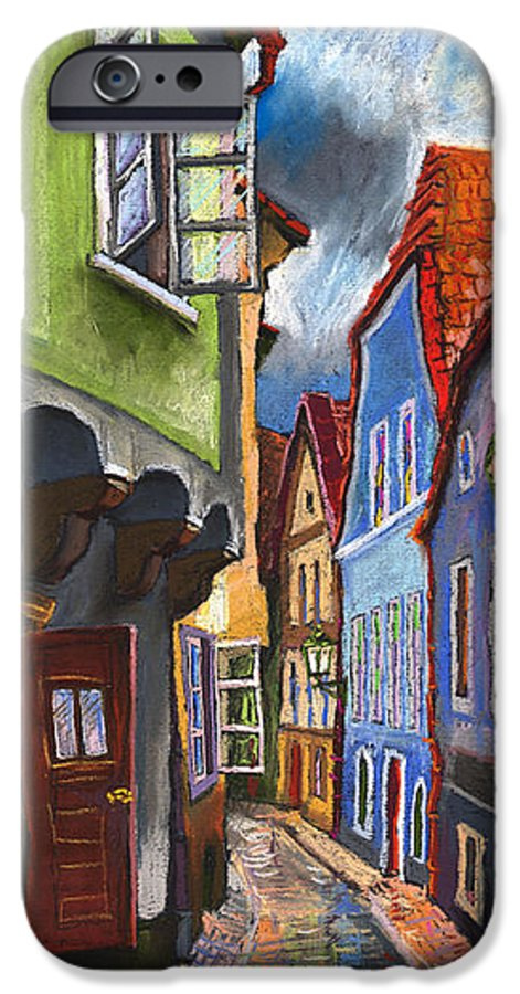 Pastel Chesky Krumlov Old Street Architectur IPhone 6 Case featuring the painting Cesky Krumlov Old Street 1 by Yuriy Shevchuk
