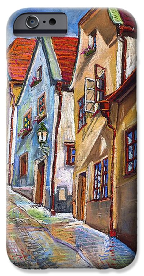 Pastel Chesky Krumlov Old Street Architectur IPhone 6 Case featuring the painting Cesky Krumlov Old Street 2 by Yuriy Shevchuk