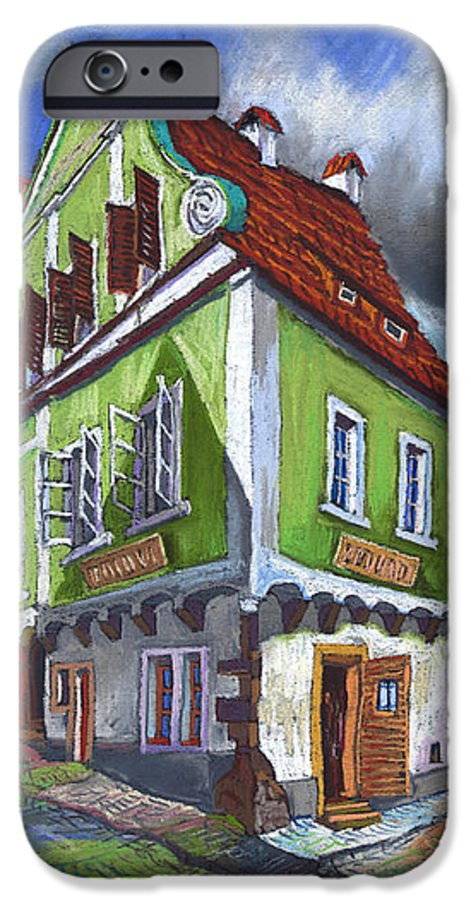 Pastel Chesky Krumlov Old Street Cityscape Realism Architectur IPhone 6 Case featuring the painting Cesky Krumlov Old Street 3 by Yuriy Shevchuk