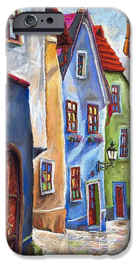 Cityscape IPhone 6 Case featuring the painting Cesky Krumlov Old Street by Yuriy Shevchuk