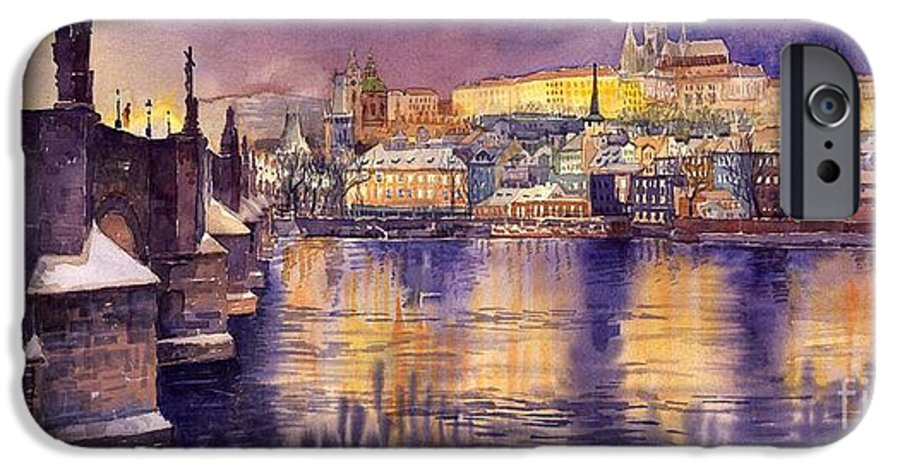 Cityscape IPhone 6 Case featuring the painting Charles Bridge And Prague Castle With The Vltava River by Yuriy Shevchuk