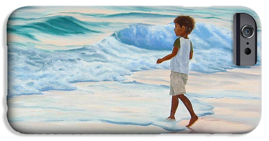 Child IPhone 6 Case featuring the painting Chasing The Waves by Lea Novak