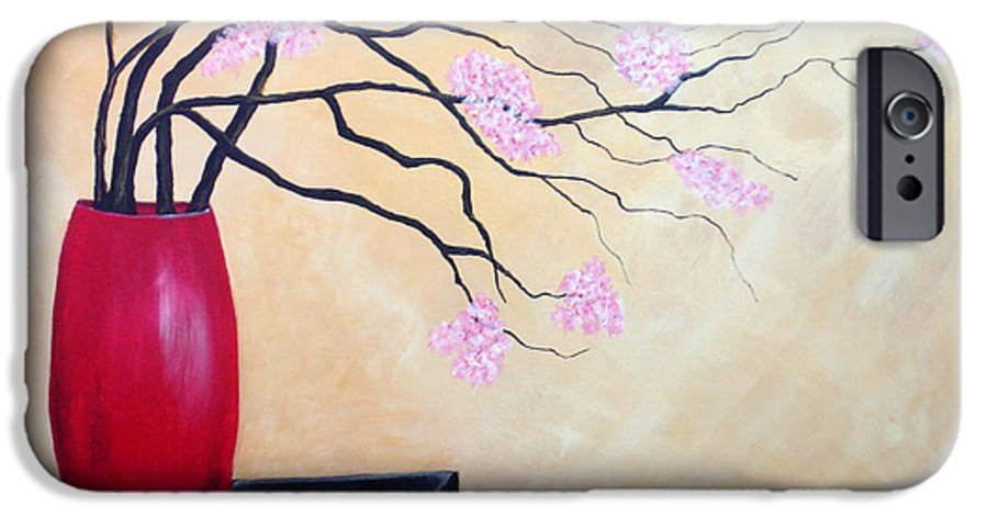 Oriental IPhone 6 Case featuring the painting Cherry Blossoms by Susan Kubes
