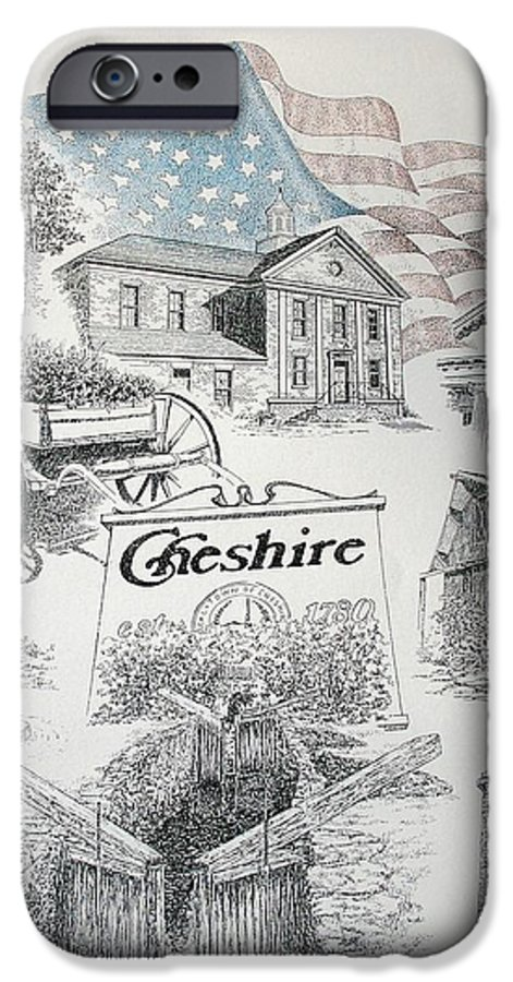 Connecticut Cheshire Ct Historical Poster Architecture Buildings New England IPhone 6 Case featuring the drawing Cheshire Historical by Tony Ruggiero