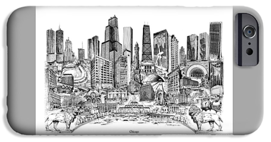 City Drawing IPhone 6 Case featuring the drawing Chicago by Dennis Bivens