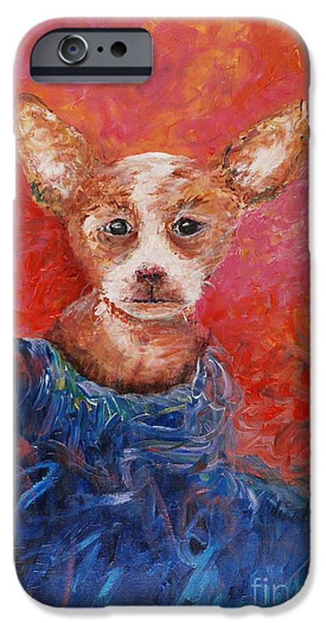 Dog IPhone 6 Case featuring the painting Chihuahua Blues by Nadine Rippelmeyer
