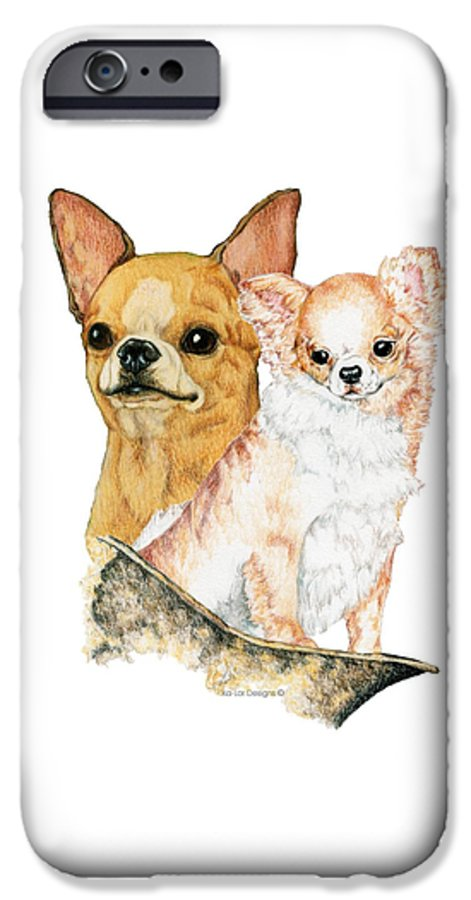 Chihuahua IPhone 6 Case featuring the drawing Chihuahuas by Kathleen Sepulveda