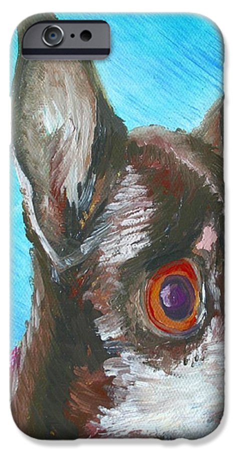 Dog IPhone 6 Case featuring the painting Chili Chihuahua by Minaz Jantz