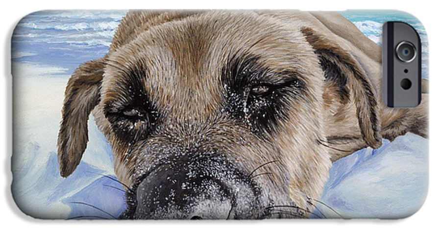 Pet Portrait IPhone 6 Case featuring the painting Chillin In Briland by Danielle Perry