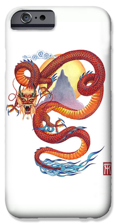 Dragon IPhone 6 Case featuring the painting Chinese Red Dragon by Melissa A Benson