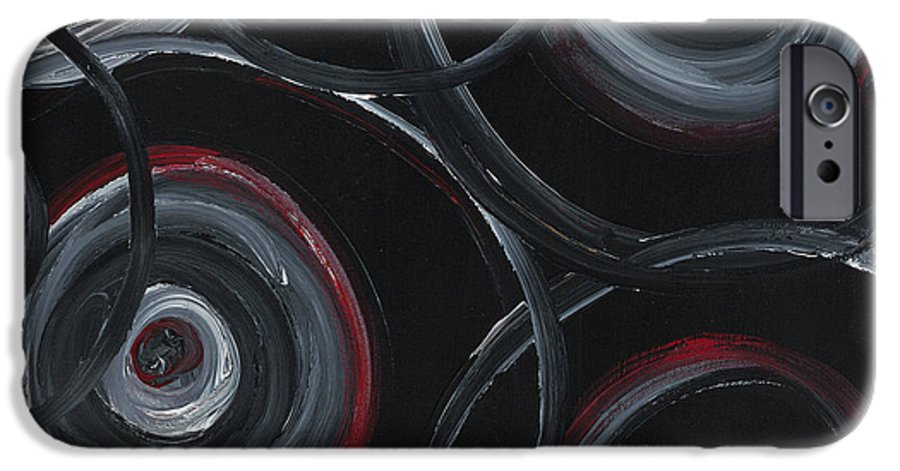 Circles IPhone 6 Case featuring the painting Choices In Black by Nadine Rippelmeyer