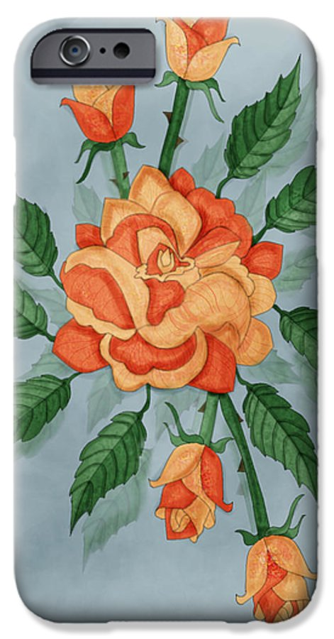 Floral IPhone 6 Case featuring the painting Christ And The Disciples Roses by Anne Norskog