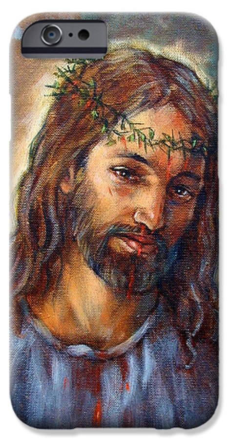 Christ IPhone 6 Case featuring the painting Christ With Thorns by John Lautermilch