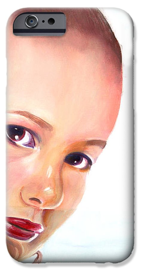 Portrait IPhone 6 Case featuring the painting Christine by Fiona Jack