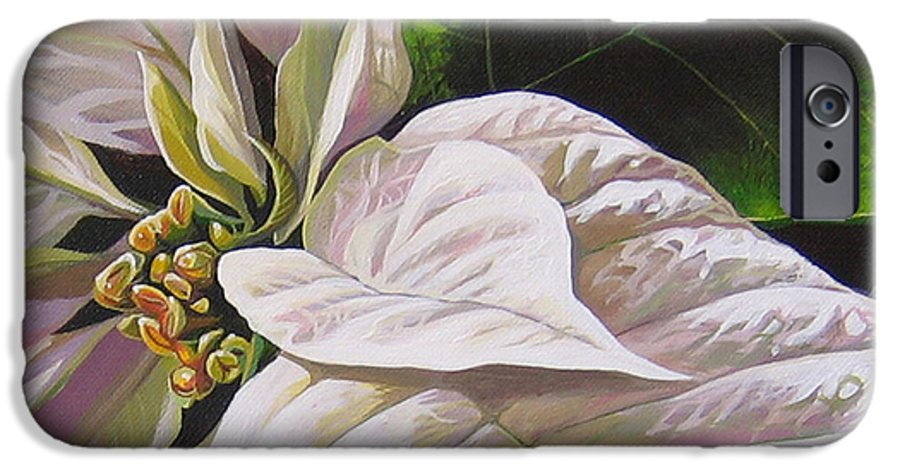 White Poinsettia IPhone 6 Case featuring the painting Christmas Eve by Hunter Jay