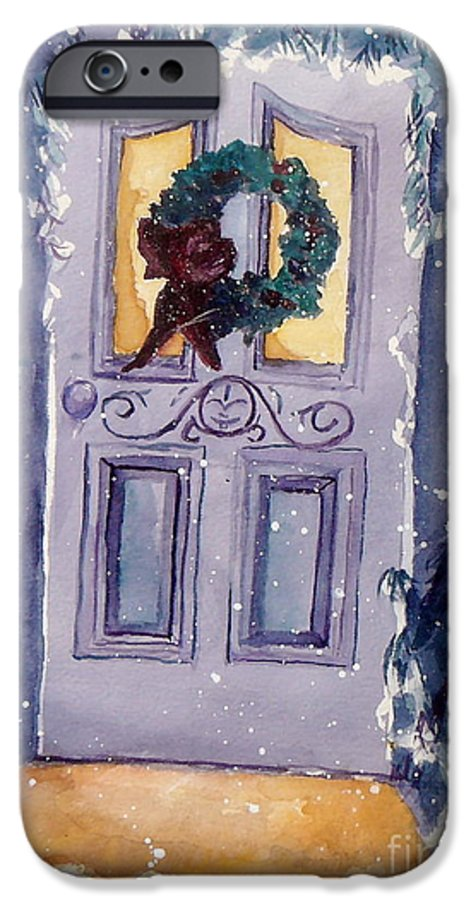 Holiday Scene IPhone 6 Case featuring the painting Christmas Eve by Jan Bennicoff