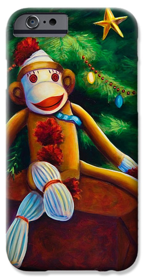 Sock Monkey IPhone 6 Case featuring the painting Christmas Made Of Sockies by Shannon Grissom