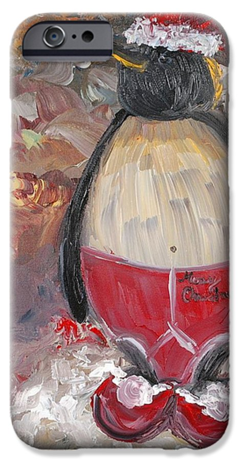 Penguin IPhone 6 Case featuring the painting Christmas Penguin by Nadine Rippelmeyer