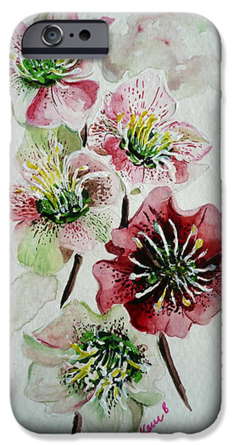 Floral Flower Pink IPhone 6 Case featuring the painting Christmas Rose by Karin Dawn Kelshall- Best