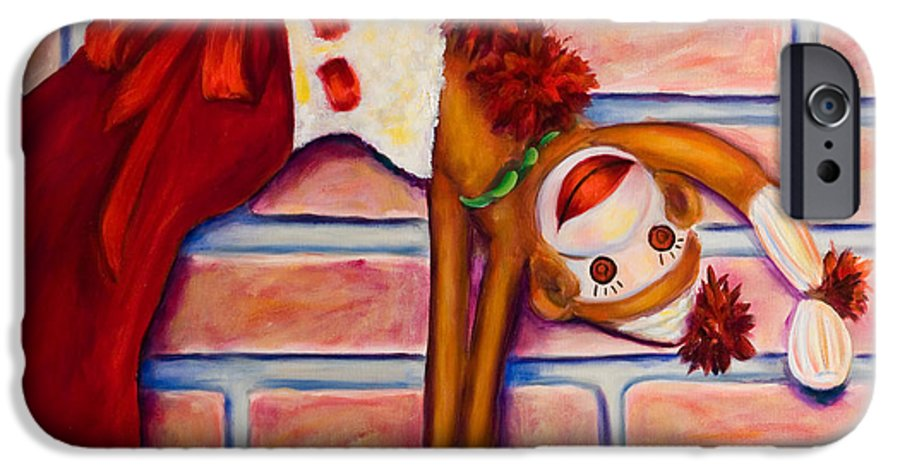 Sock Monkey IPhone 6 Case featuring the painting Christmas With Care by Shannon Grissom