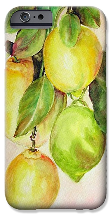 Still Life IPhone 6 Case featuring the painting Citrons by Muriel Dolemieux