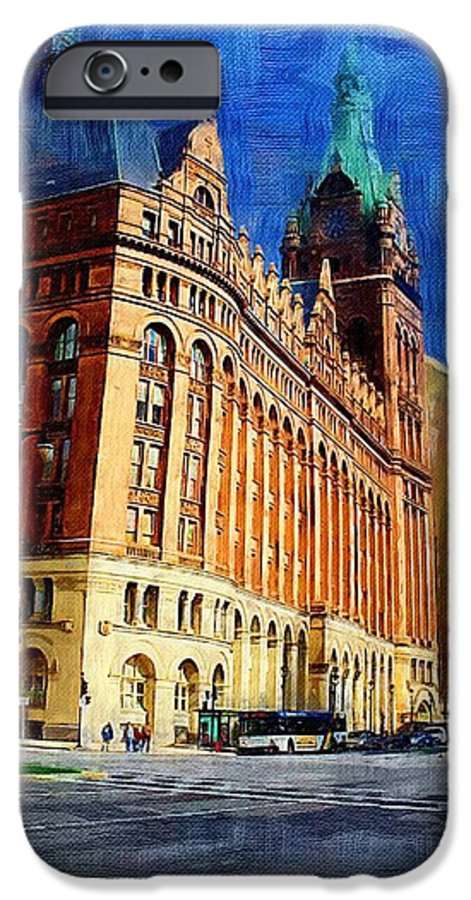 Architecture IPhone 6 Case featuring the digital art City Hall And Lamp Post by Anita Burgermeister