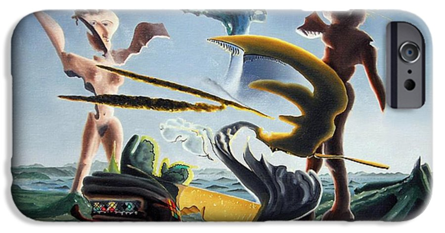 Landscape IPhone 6 Case featuring the painting Civilization Found Intact by Dave Martsolf