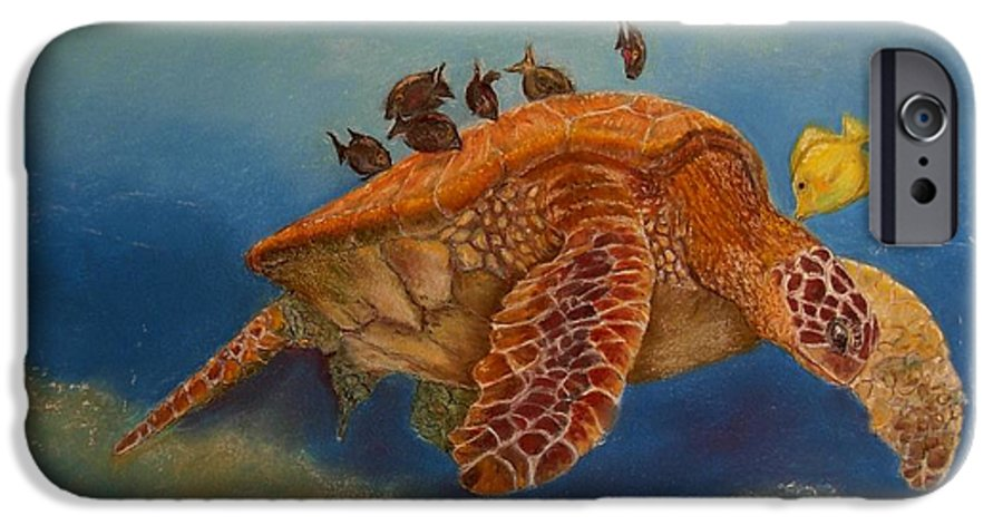 Turtle IPhone 6 Case featuring the painting Cleaning Station by Ceci Watson