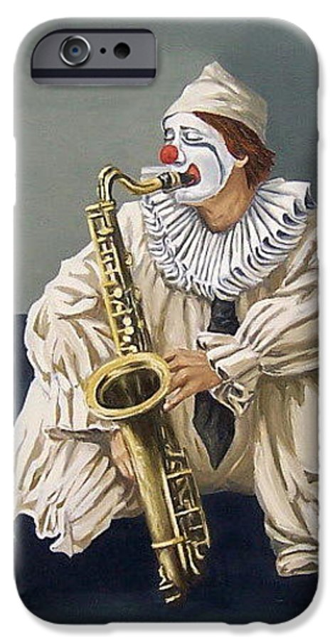 Clown Figurative Portrait People IPhone 6 Case featuring the painting Clown by Natalia Tejera