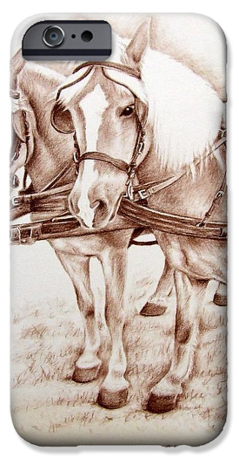 Horses IPhone 6 Case featuring the drawing Coach Horses by Nicole Zeug
