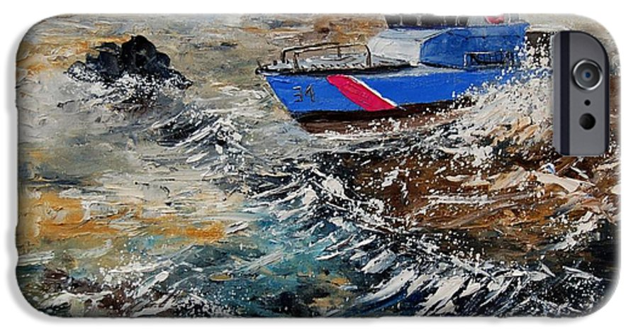Sea IPhone 6 Case featuring the painting Coastguards by Pol Ledent
