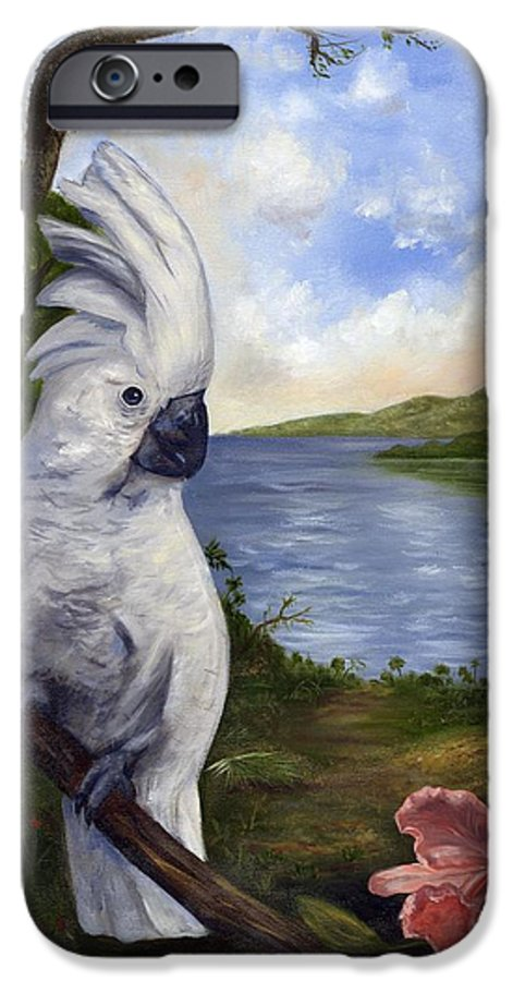 Landscape IPhone 6 Case featuring the painting Cockatoo And Orchid by Anne Kushnick