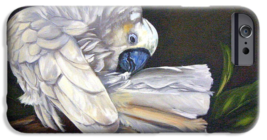 Birds IPhone 6 Case featuring the painting Cockatoo Preening by Anne Kushnick