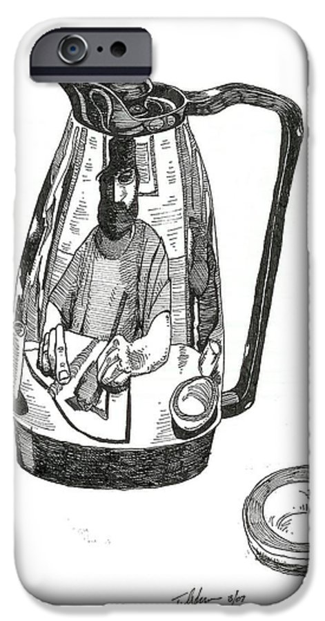 Pen And Ink IPhone 6 Case featuring the drawing Coffee Pot by Tobey Anderson