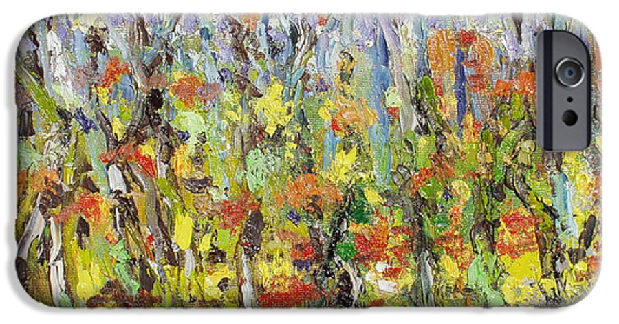 Autumn Abstract Paintings IPhone 6 Case featuring the painting Colorful Forest by Seon-Jeong Kim