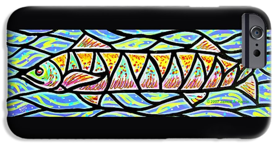 Fish IPhone 6 Case featuring the painting Colorful Longfish by Jim Harris