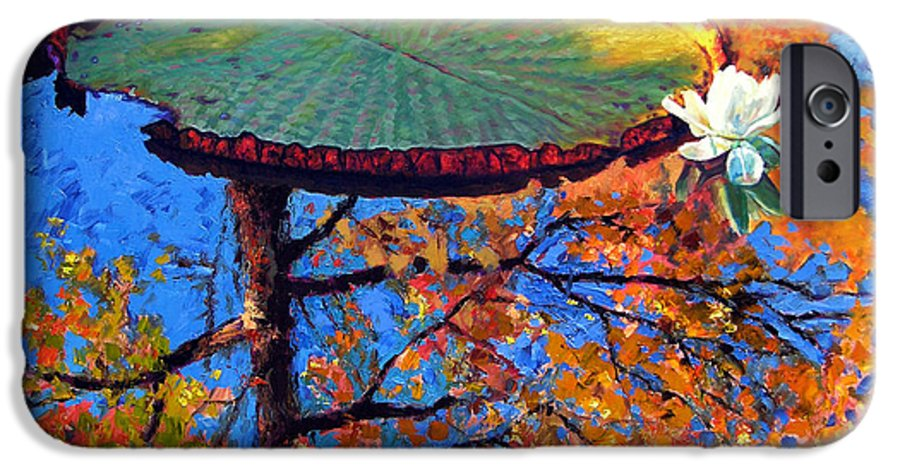 Fall IPhone 6 Case featuring the painting Colors Of Fall On The Lily Pond by John Lautermilch
