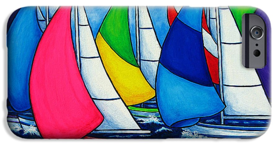 Boats IPhone 6 Case featuring the painting Colourful Regatta by Lisa Lorenz