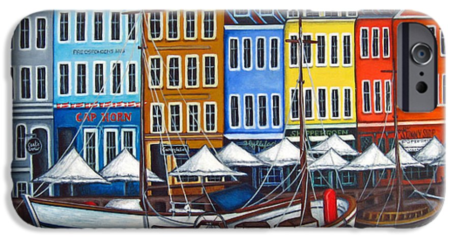 Nyhavn IPhone 6 Case featuring the painting Colours Of Nyhavn by Lisa Lorenz