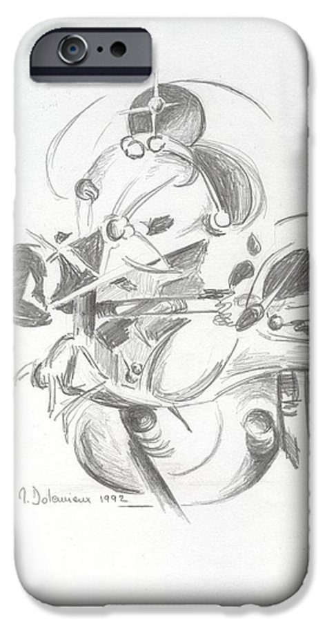 Abstract IPhone 6 Case featuring the drawing Combat by Muriel Dolemieux