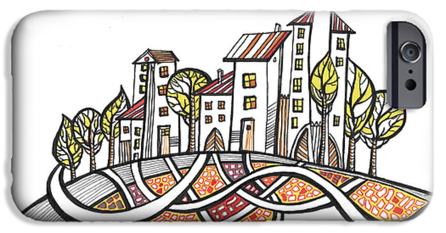 Houses IPhone 6 Case featuring the drawing Connections by Aniko Hencz